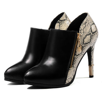 Womens Hot Snakeskin Bootie Heels