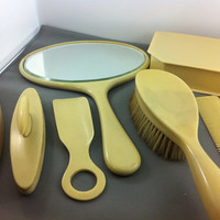 50% Off - French Ivory Vanity Items, Mirror, Brush, Comb, Jewelry Box, Shoe Horn & Buffer. Retro Space Age Mirror.