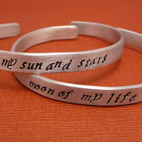 Game of Thrones Inspired - My Sun And Stars & Moon Of My Life - A Pair of Hand Stamped Aluminum Bracelets