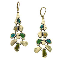 Green Stone Chandelier Statement Earrings