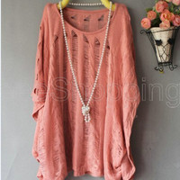 New Womens Batwing Loose Hollow Asymmetric Casual Knitted Tops Cardigan Sweaters