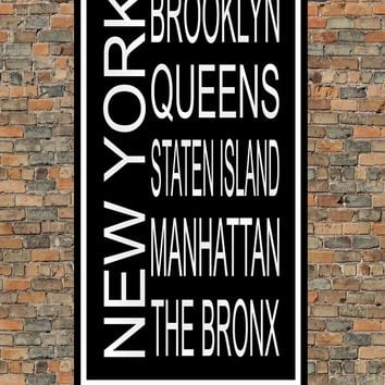 New York City Boroughs Subway Sign Print - Brooklyn, Queens, Staten Island, Manhattan, The Bronx