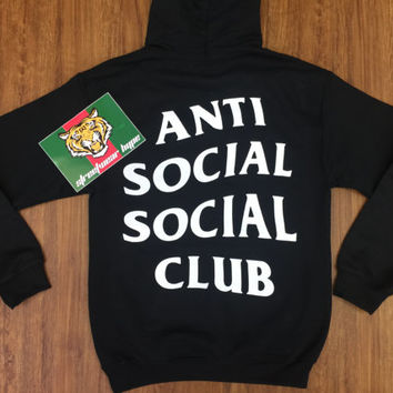 AntiSocial Social Club Hoodie in Black,ASSC,Kanye West Anti Social Gildan Sweatshirt-i feel like pablo-yeezy hoodie-anti social club-kylie