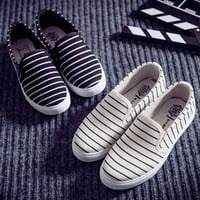 Causal New Comfortable Elegant Shoes Stripes Korean Vans Loafer Shoes [8865345996]