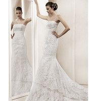 Elegant Petite-Plus Size White Lace Modern Wedding Bridal Gowns Dresses SKU-118257