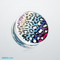 Rainbow Gradient Leopard Clear UV Double Flared Ear Gauge Plug