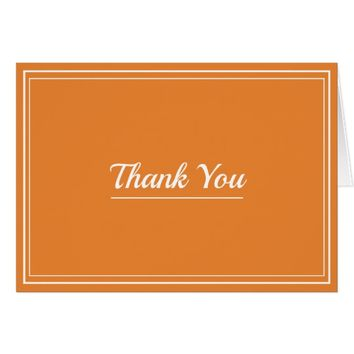 Thank You Decorative Lines Minimal Orange Custom Card
