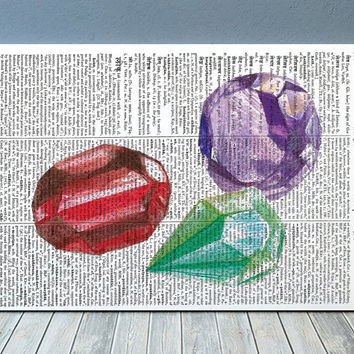 Gem poster Watercolor print Gemstone print Dictionary decor RTA1885
