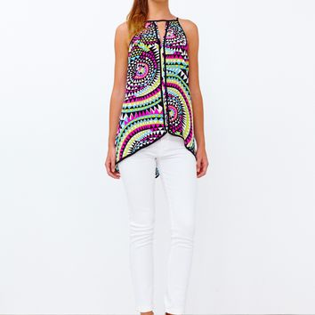Alice & Trixie Waverly Tunic - White Trippy Triangle