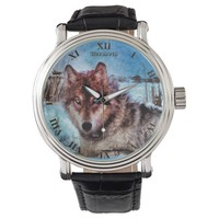 Purple Wolf With Yellow Eyes In Winter Painting Wristwatch
