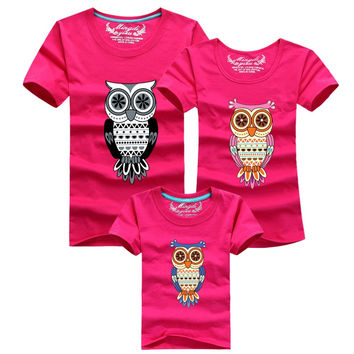 2016 New Fashion Summer Family Matching Outfits Owl T-shirts Mother Daughter Father Son Baby Kids Clothes Girls Boys T-shirt