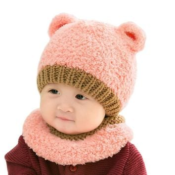 1 Set Cute Winter Baby Hat Scarf Girls Boys Warm Coral Fleece Knitted Ears Caps Scarves For 0-3Y Kids