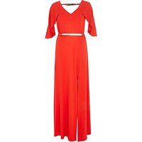 River Island Womens Red cape sleeve maxi dress