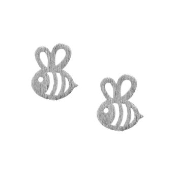 Handcrafted Brushed Metal Bumble Bee Stud Earrings