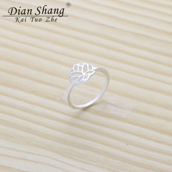 Midi Ring For Women Fashion Jewelry Wedding Gift Dainty Tiny Lotus Flower Rings