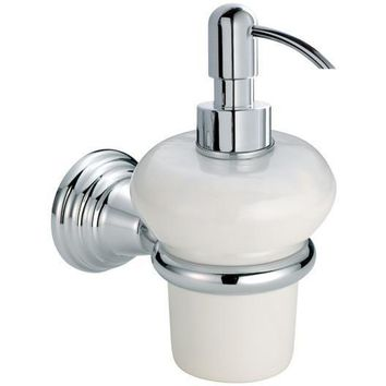 BA Canova Wall Mounted Ceramic Pump Soap Lotion Dispenser Bath or Kitchen, Brass