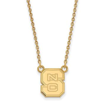 NCAA 14k Gold Plated Silver North Carolina Sm 'NCS' Pendant Necklace