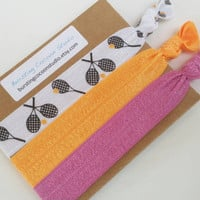 Tennis hair ties, orange and purple, orange and pink set of 3 foldover elastic ponytail holders, tennis racquet, tennis player gift, coach