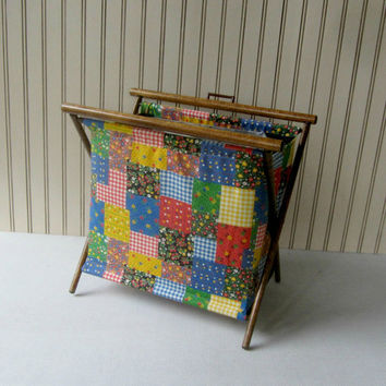 Vintage Knitting Crochet Tote Folding Yarn Bag Sewing Tote Multicolor Patchwork Needlework Bag Sewing Caddy