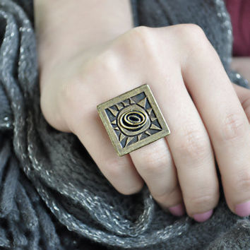 Square Vintage Brass Ring