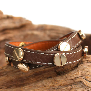 Gold Stud Leather Wrap Bracelet, Brown