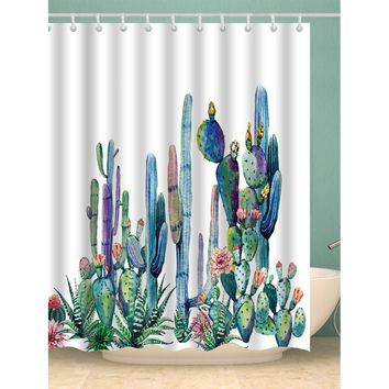 Cactus Shower Curtain With Hook 12pcs