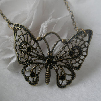 Butterfly necklace- Filigree butterfly- Large butterfly- Filigree necklace- Spring accessory- Nature- Butterfly
