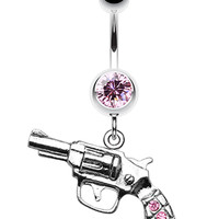 Pistol Gun Sparkle Belly Button Ring
