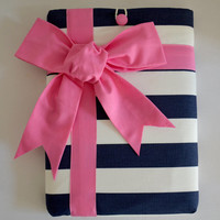 """Macbook Pro 13 Sleeve MAC Macbook 13"""" inch Laptop Computer Case Cover Navy & White Stripe with Pink Gift Bow"""