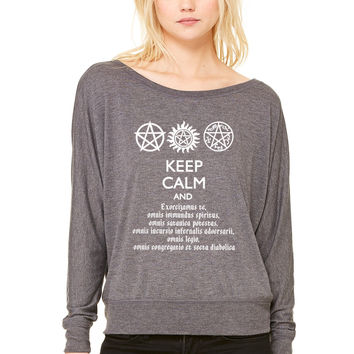 Supernatural Keep Calm and Exorcise WOMEN'S FLOWY LONG SLEEVE OFF SHOULDER TEE