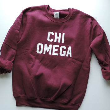 New Chi Omega Maroon & White Crewneck Sweatshirt // Size SMALL  // Ready To Ship