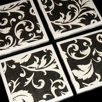 Tile Coasters- Coasters- Drink Coasters- Coaster- Home Decor- Black and White Tile Coasters- Coaster Set of 4