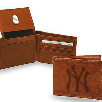 New York Yankees New Design Wallet Prem Brown LEATHER BillFold Bifold Baseball