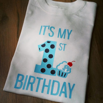 Birthday Shirt - 1 2 3 4 5 - Cupcake - Monogram - Cute - Custom Colors
