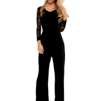 Cfanny 2016 New rompers Black Flared Pant Lace Sleeve Wide Leg Jumpsuit Sexy costumes women Leisure Casual Playsuit