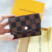 LV Louis Vuitton High Quality Coffee Plaid Pink Buckle Key Packet PU Small Coin Purse Wallet Key Pouch