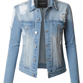 LE3NO Womens Vintage Washed Long Sleeve Ripped Distressed Denim Jean jacket