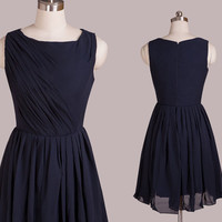 O-Neck Navy Short Ruffle Lace up/Zipper Party Dress,Bridesmaid dresses,cocktail dresses,knee length dresses