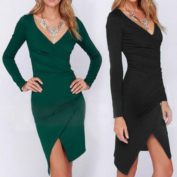 Long Sleeve V-neck Split Dress Slim One Piece Dress [6338693252]