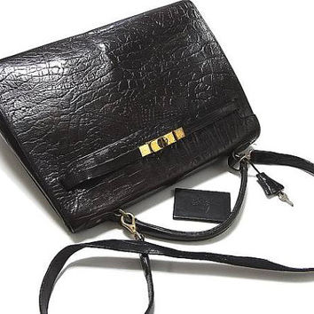 Vintage Mulberry croc embossed black leather Kelly bag with shoulder strap. Roger Saul era. Rare masterpiece you must get.