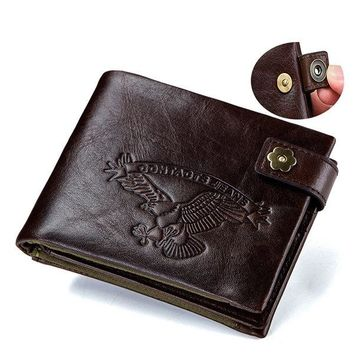 Genuine Leather Vintage Multi-slot Trifold Wallet For Men