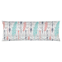 Feathers and Arrows Print Body Pillow
