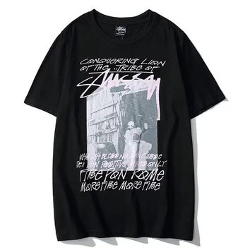 Stussy Tide brand black tribe street letter graffiti men and women half sleeve t-shirt Black