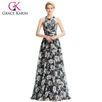 2016 New Halter Floral Print Evening Dresses Flower Pattern Chiffon Floor Length Pleated Backless Long Evening Gown GK000035