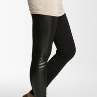 Frenchi® Faux Leather Panel Leggings (Juniors) | Nordstrom