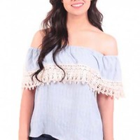 Blue Me Away Top in Blue and White