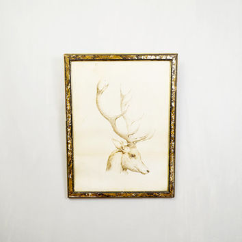 Antique Brown Pen & Ink Drawing Portrait Of A Stag