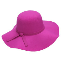 Light Purple Bow Tie Woolen Floopy Fedora Hat