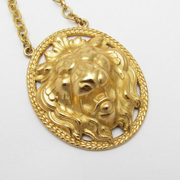 Huge Lion Head Pendant Necklace Vintage Napier Jewelry N7270
