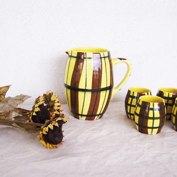 Vintage pitcher set, fifties pitcher and mugs set in yellow and brown, rustic jug and shots earthenware set, pitcher and mugs pottery set